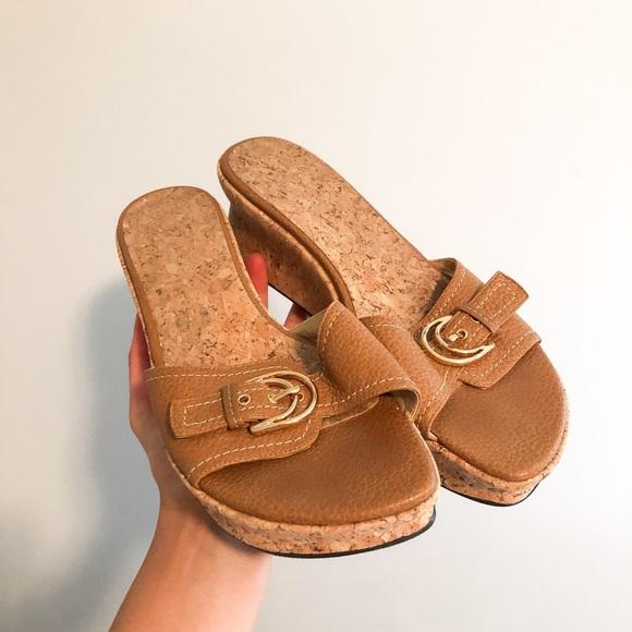 Brown Slip On Wedges
